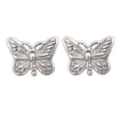 Sterling Silver Mini Butterfly Stud Earrings