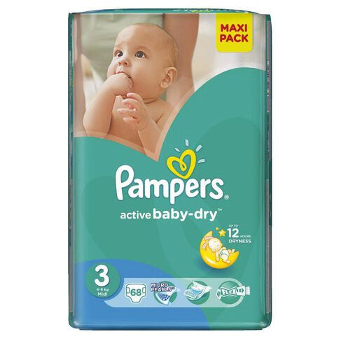Pampers Nappies Size 3 68 Pack 4 - 9kg
