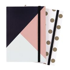 Deskwise Softcover Fashion Notebook with Elastic A6 2 Pack