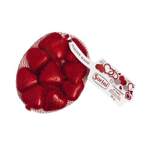 Sorini Red Chocolate Hearts in Mesh Bag 80g