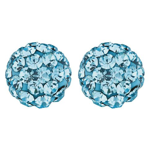 Sterling Silver Blue Crystal Stud Earrings 8mm