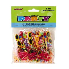 Meteor Party Favours Mini Erasers in Cello Bag 6 Pack