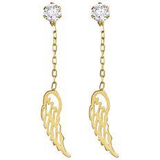 9ct Gold Angel Wing Drop Earrings