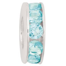 Ane Si Dora Sterling Silver Light Blue CZ Channel Charm