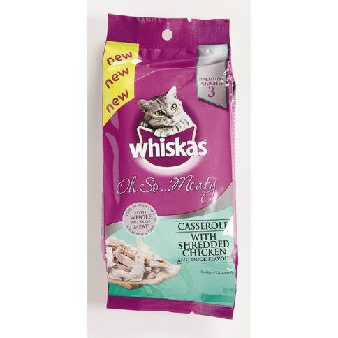 Whiskas Oh So Meaty With Shredded Chicken & Duck Flavour 85g 3 Pack