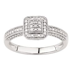 1/10 Carat of Diamonds Sterling Silver Diamond Antique Square Ring