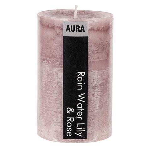 Aura Pillar Candle Rain Water Lily & Rose 6cm x 10cm
