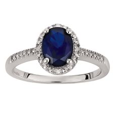 Sterling Silver Diamond Synthetic Sapphire Oval Ring