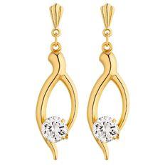 9ct Gold CZ Wishbone Drop Earrings