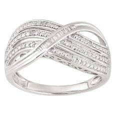 1/10 Carat of Diamonds Sterling Silver Taper Cross Ring