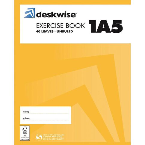 Deskwise Exercise Book 1A5 Quad Blank 40 Leaf