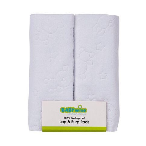 Babywise Waterproof Burp Pads White 2 Pack