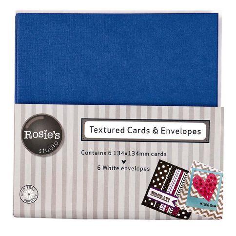 Rosie's Studio Textured Cards Blue 134mm x 134mm 6 Pack