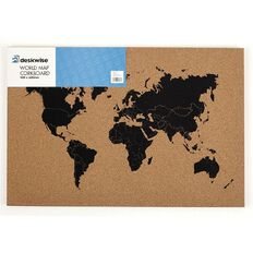 Deskwise Cork Board World Map Frameless 400mm x 600mm