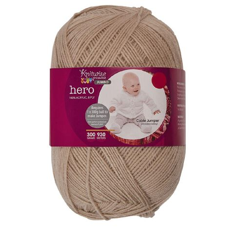 Knitwise Pricewise Yarn Hero Jumbo 8-Ply Stone 300g