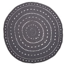 Living & Co Rug Valencia Cotton Crochet Round Charcoal 1.5 Metre