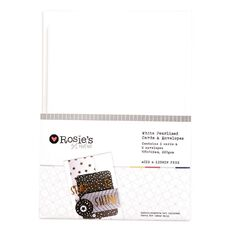 Rosie's Studio White Pearlised Metallic Cards and Envelopes 6 Pack