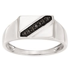 Sterling Silver Diamond Men's Ring