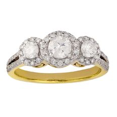 1 Carat of Diamonds 9ct Gold Diamond 3 Stone Halo Ring