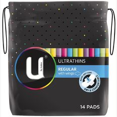 U By Kotex Ultrathin Pads Regular Wing 14s