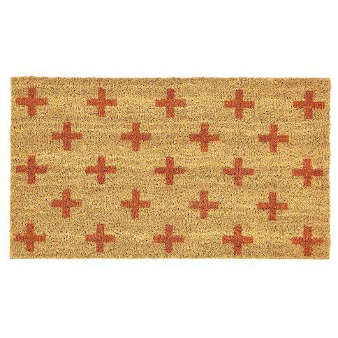 Crosses Printed Coir Mat Orange