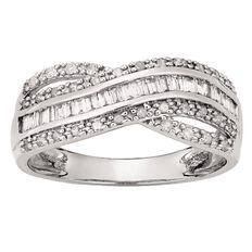 1/2 Carat of Diamonds 9ct Gold Cross Over Baguette Ring