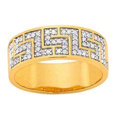 1/4 Carat of Diamonds 9ct Gold Greek Key Ring