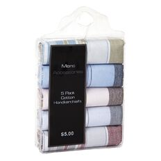 Accessories Men's Essentials Border Handkerchiefs 5 Pack Assorted