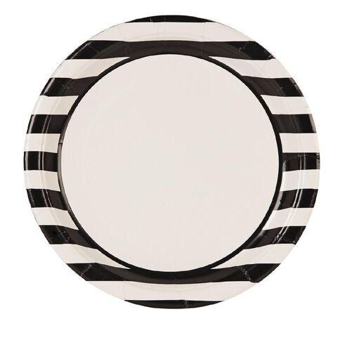 Unique Plates Stripes Black 23cm 8 Pack