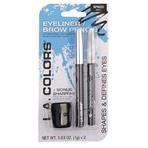 La Colors 2pc Eyeliner/Brow Pencil w/ Sharpener Black BPN222