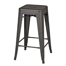 Living & Co Metal Stool Charcoal 66cm