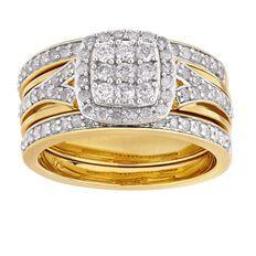 1 Carat of Diamonds 9ct Gold Diamond Cushion Cut Trio Set Ring
