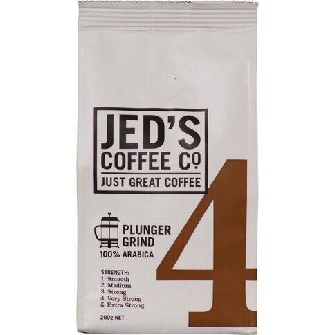 Jed's Coffee Co Roast & Ground Plunger Filter Strength 4 200g