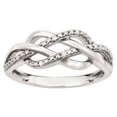 Sterling Silver Diamond Twist Ring