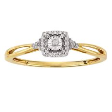 9ct Gold Diamond Fancy Square Ring