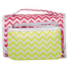 Colour Co. Toiletry Bag Valet Organiser Chevron Pink/Green 2 Piece