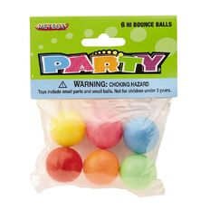 Meteor Party Favours Hi Bounce Balls 6 Pack