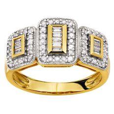 1/2 Carat of Diamonds 9ct Gold Baguette Ring
