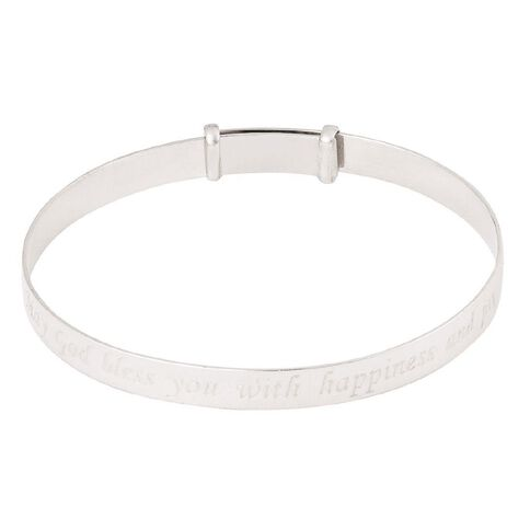KIDZ Sterling Silver Girls' Expander Message Baby Bangle