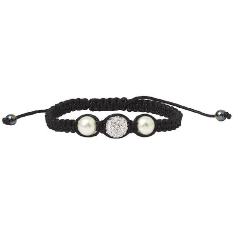 Shell Pearl and White Crystal Chamballa Bracelet