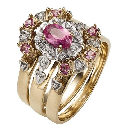 9ct Gold Synthetic Pink Sapphire Trio Ring