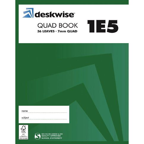 Deskwise Exercise Book 1E5 7mm Quad 36 Leaf