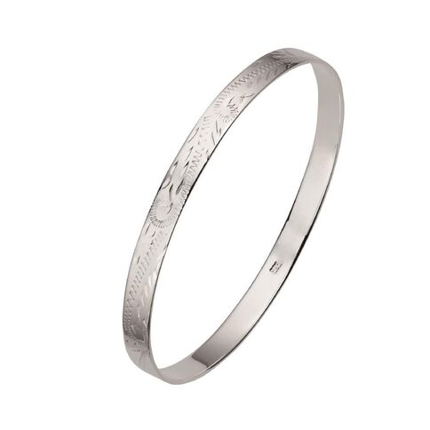 Sterling Silver Solid Engraved Bangle 6.5mm
