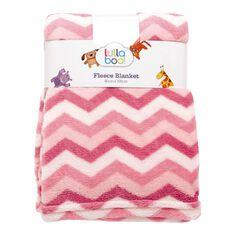 Lullaboo Baby Blanket Cloral Fleece Chevron Pink