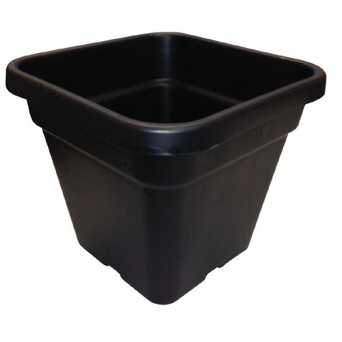 Interworld Square Black Recycled Resin Planter Pot 10L