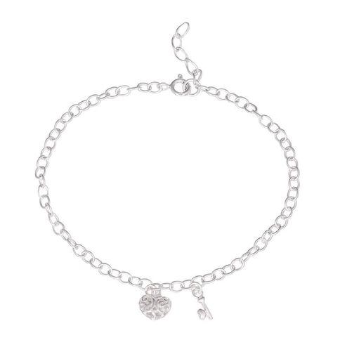 Sterling Silver Heart and Key Bracelet