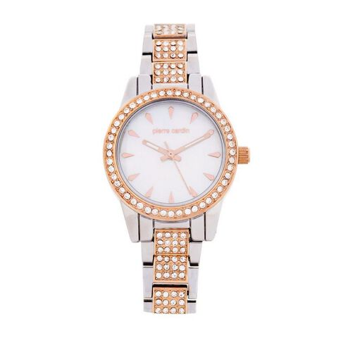 Pierre Cardin Ladies' 2 Tone Silver and Rose Crystal Set Watch