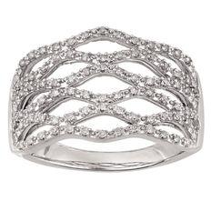 1/4 Carat of Diamonds Sterling Silver Diamond Open Weave Ring