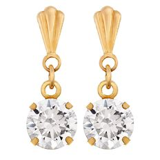9ct Gold Drop Stud Earrings