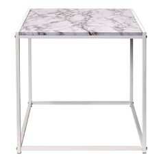 Living & Co Marble Look Square Side Table White